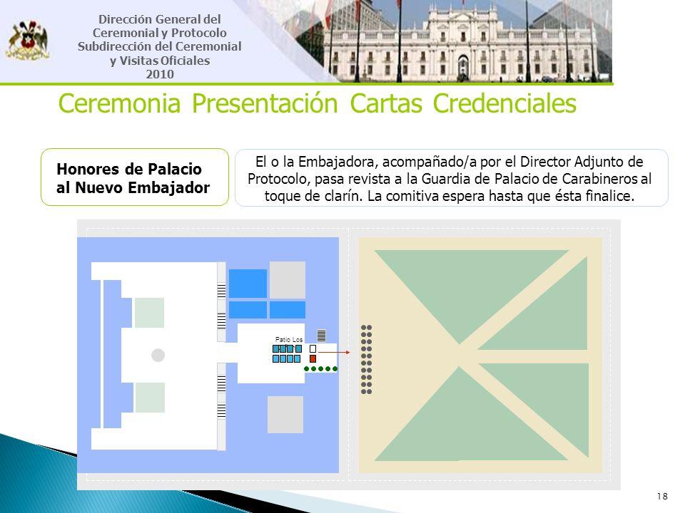 18 Ceremonia Presentación Cartas Credenciales Honores de Palacio al Nuevo Embajador El o la Embajadora, acompañado/a por el Director Adjunto de Protoc