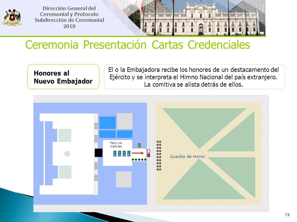 19 Ceremonia Presentación Cartas Credenciales Honores al Nuevo Embajador El o la Embajadora recibe los honores de un destacamento del Ejército y se in
