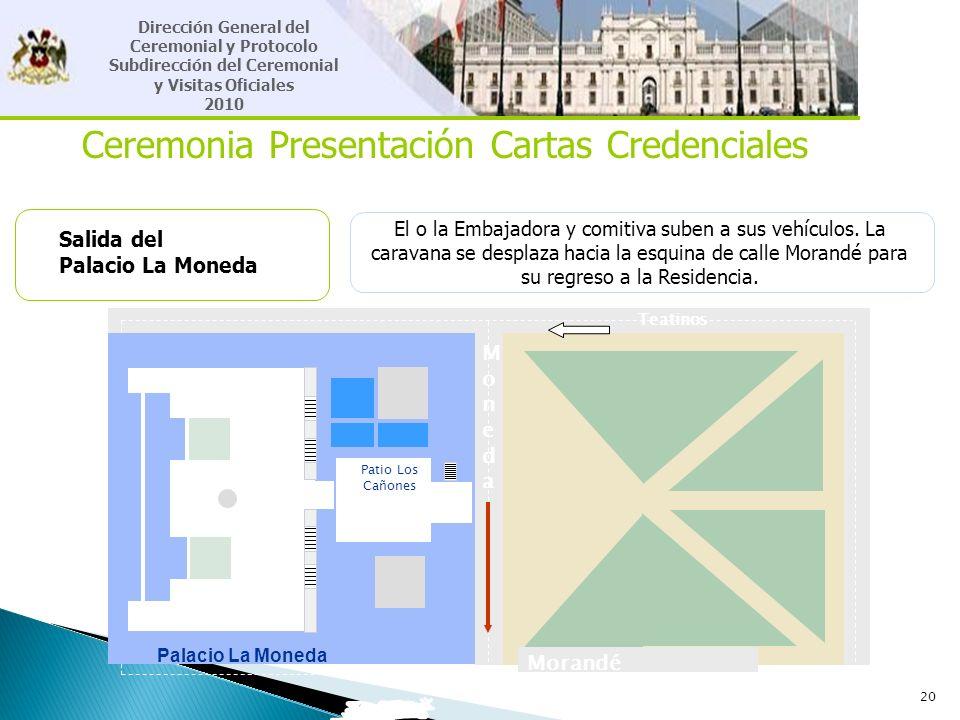 20 Ceremonia Presentación Cartas Credenciales Salida del Palacio La Moneda El o la Embajadora y comitiva suben a sus vehículos. La caravana se desplaz