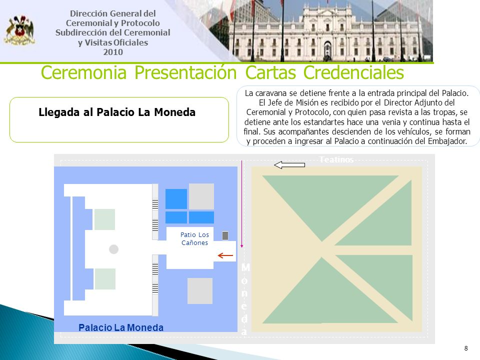 8 Ceremonia Presentación Cartas Credenciales Llegada al Palacio La Moneda La caravana se detiene frente a la entrada principal del Palacio. El Jefe de