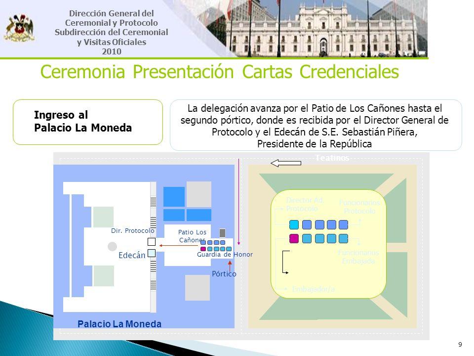 9 Ceremonia Presentación Cartas Credenciales Ingreso al Palacio La Moneda La delegación avanza por el Patio de Los Cañones hasta el segundo pórtico, d