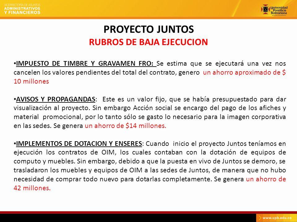 PROYECTO JUNTOS RUBROS DE BAJA EJECUCION IMPUESTO DE TIMBRE Y GRAVAMEN FRO: Se estima que se ejecutará una vez nos cancelen los valores pendientes del