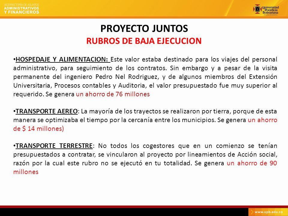 PROYECTO JUNTOS RUBROS DE BAJA EJECUCION HOSPEDAJE Y ALIMENTACION: Este valor estaba destinado para los viajes del personal administrativo, para segui