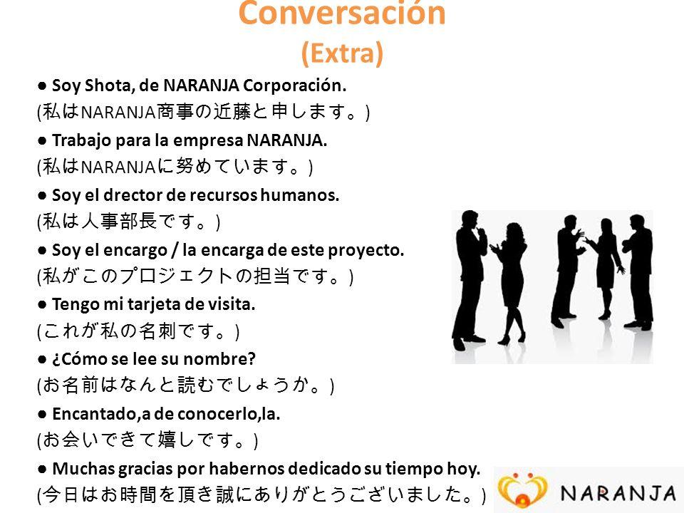 Conversación (Extra) Soy Shota, de NARANJA Corporación. ( NARANJA ) Trabajo para la empresa NARANJA. ( NARANJA ) Soy el drector de recursos humanos. (