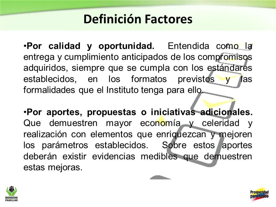 Definición Factores Por calidad y oportunidad.