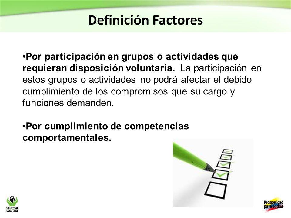 Definición Factores Por participación en grupos o actividades que requieran disposición voluntaria.