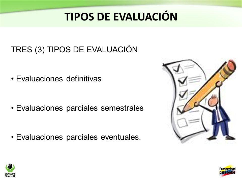 TRES (3) TIPOS DE EVALUACIÓN Evaluaciones definitivas Evaluaciones parciales semestrales Evaluaciones parciales eventuales.