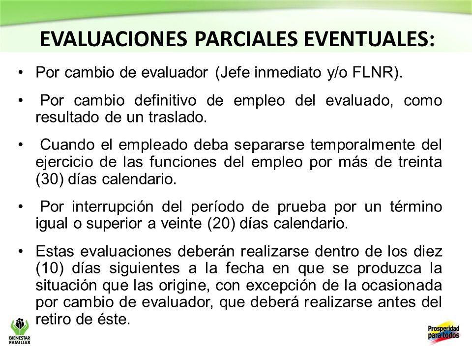 EVALUACIONES PARCIALES EVENTUALES: Por cambio de evaluador (Jefe inmediato y/o FLNR).