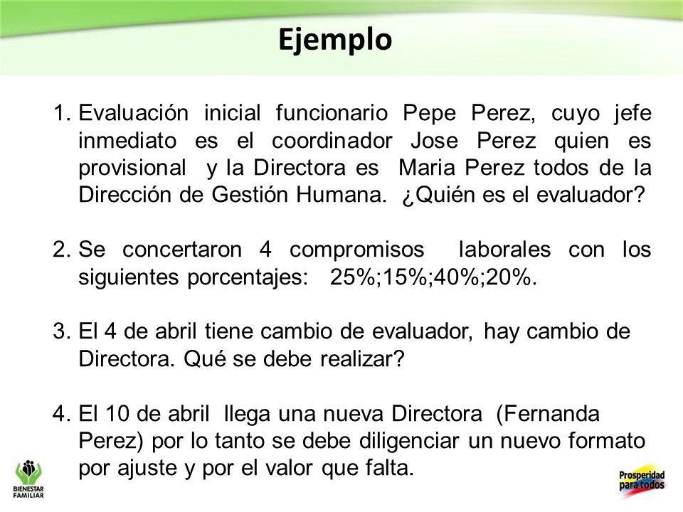 Ejemplo 1.Evaluación inicial funcionario Pepe Perez, cuyo jefe inmediato es el coordinador Jose Perez quien es provisional y la Directora es Maria Perez todos de la Dirección de Gestión Humana.