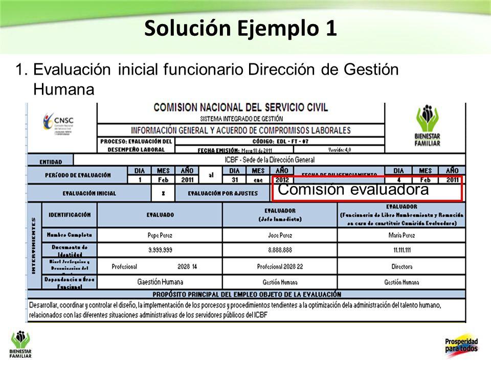 Solución Ejemplo 1 1.Evaluación inicial funcionario Dirección de Gestión Humana Comisión evaluadora