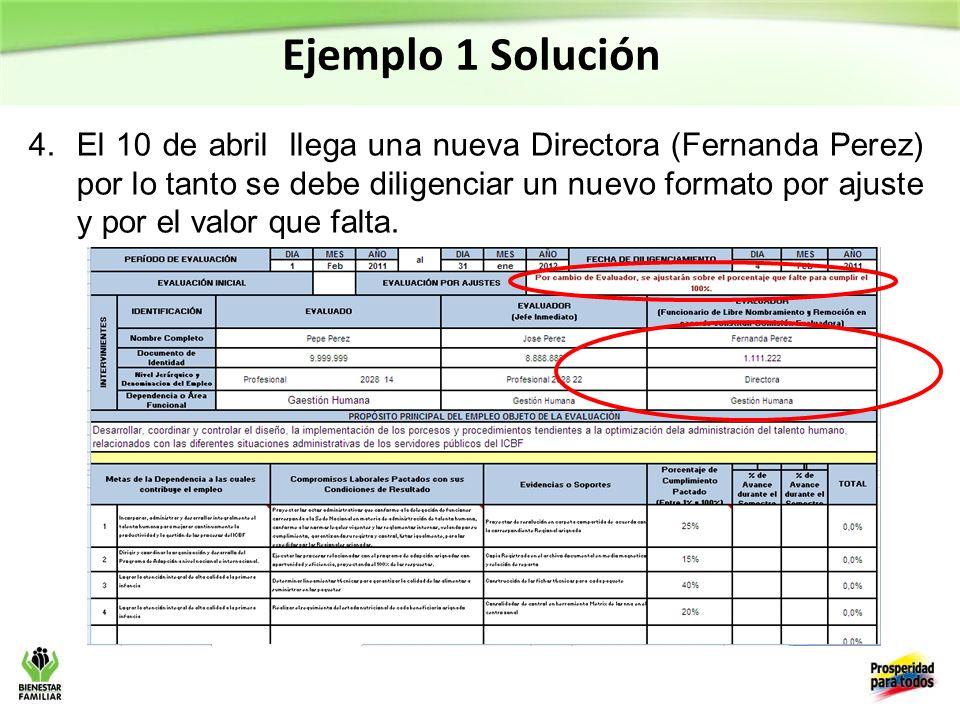 Ejemplo 1 Solución 4.El 10 de abril llega una nueva Directora (Fernanda Perez) por lo tanto se debe diligenciar un nuevo formato por ajuste y por el valor que falta.