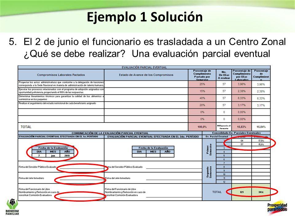 Ejemplo 1 Solución 5.El 2 de junio el funcionario es trasladada a un Centro Zonal ¿Qué se debe realizar.