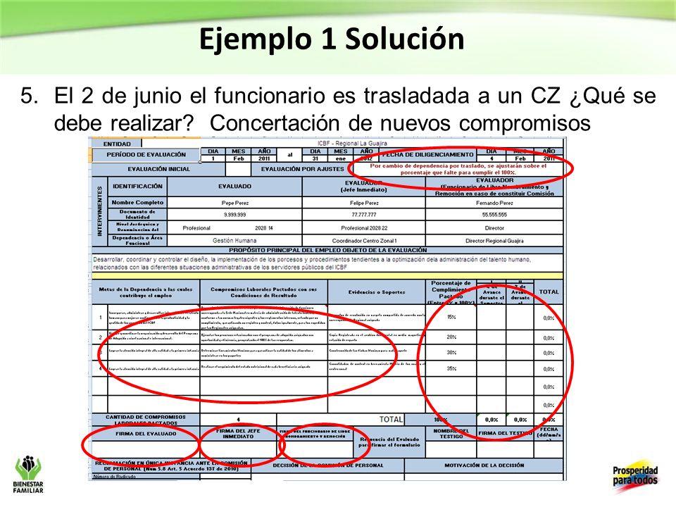 Ejemplo 1 Solución 5.El 2 de junio el funcionario es trasladada a un CZ ¿Qué se debe realizar.