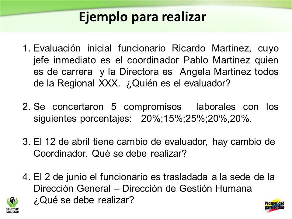 Ejemplo para realizar 1.Evaluación inicial funcionario Ricardo Martinez, cuyo jefe inmediato es el coordinador Pablo Martinez quien es de carrera y la Directora es Angela Martinez todos de la Regional XXX.