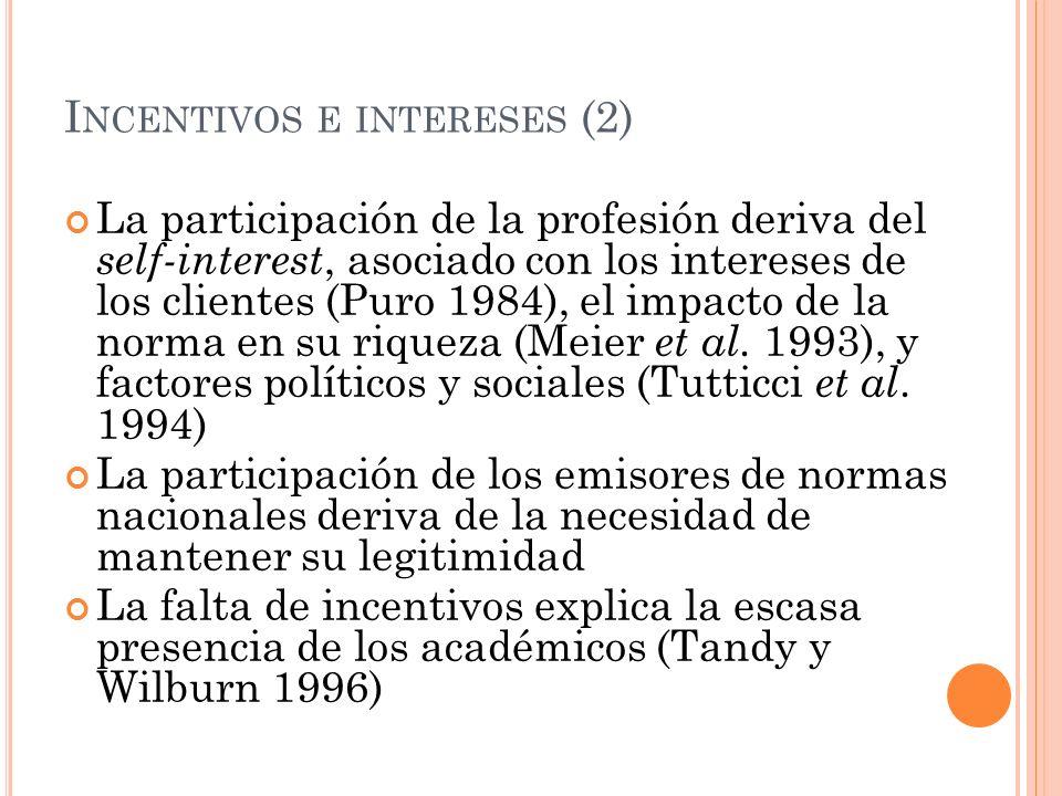 I NCENTIVOS E INTERESES (2) La participación de la profesión deriva del self-interest, asociado con los intereses de los clientes (Puro 1984), el impa