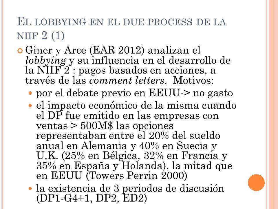 E L LOBBYING EN EL DUE PROCESS DE LA NIIF 2 (1) Giner y Arce (EAR 2012) analizan el lobbying y su influencia en el desarrollo de la NIIF 2 : pagos bas