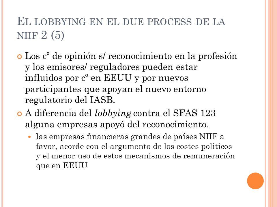 E L LOBBYING EN EL DUE PROCESS DE LA NIIF 2 (5) Los cº de opinión s/ reconocimiento en la profesión y los emisores/ reguladores pueden estar influidos
