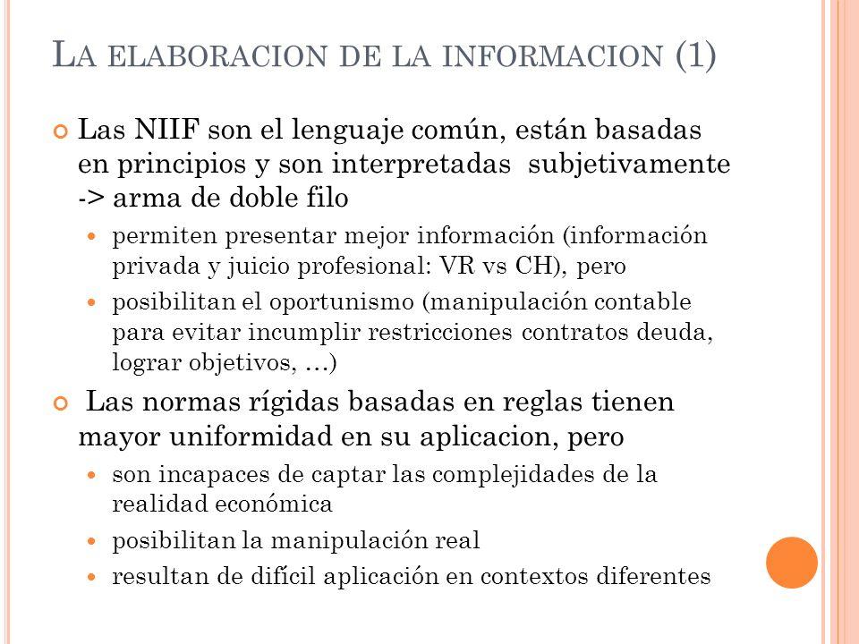 L A ELABORACION DE LA INFORMACION (1) Las NIIF son el lenguaje común, están basadas en principios y son interpretadas subjetivamente -> arma de doble