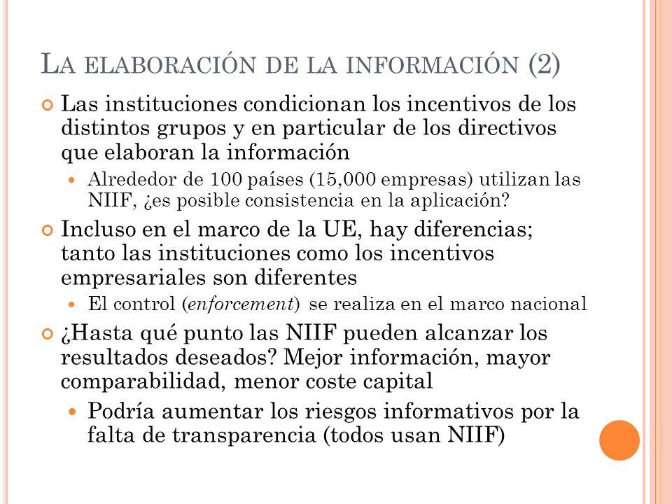 L A ELABORACIÓN DE LA INFORMACIÓN (2) Las instituciones condicionan los incentivos de los distintos grupos y en particular de los directivos que elabo