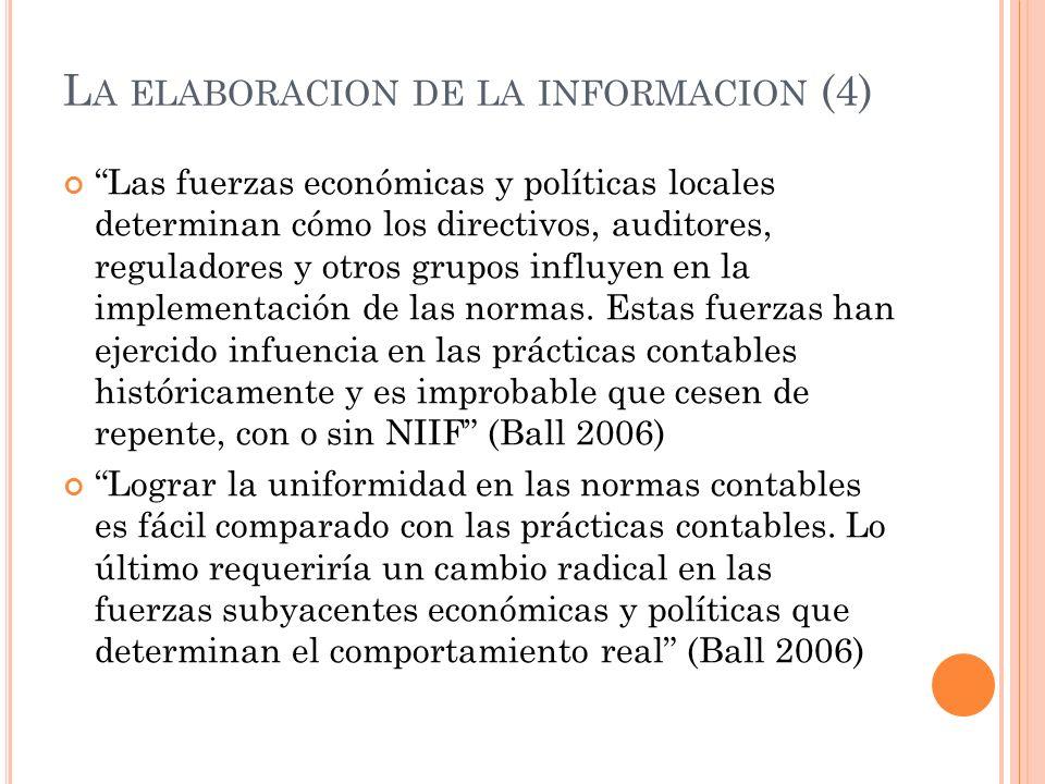 L A ELABORACION DE LA INFORMACION (4) Las fuerzas económicas y políticas locales determinan cómo los directivos, auditores, reguladores y otros grupos