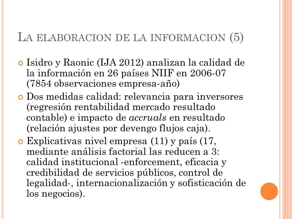 L A ELABORACION DE LA INFORMACION (5) Isidro y Raonic (IJA 2012) analizan la calidad de la información en 26 países NIIF en 2006-07 (7854 observacione