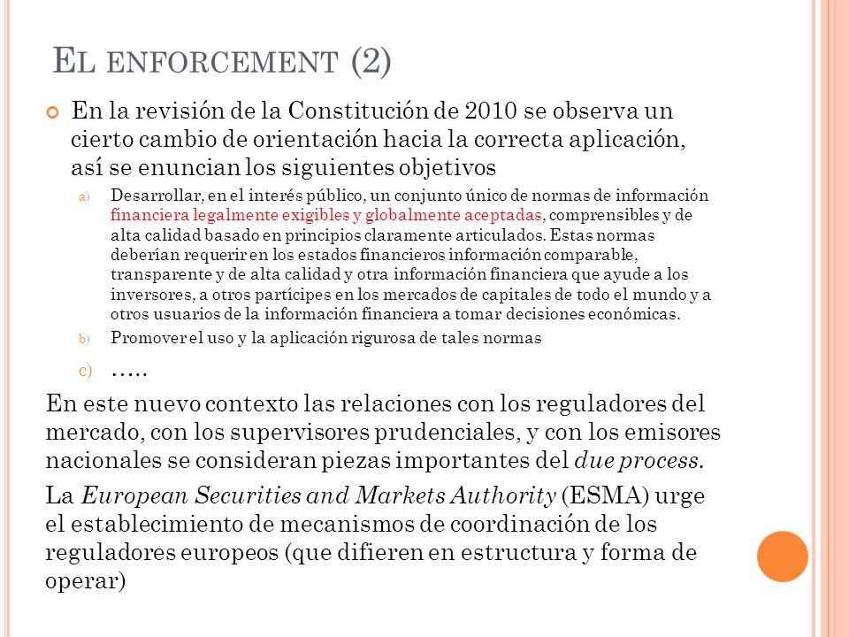 E L ENFORCEMENT (2) En la revisión de la Constitución de 2010 se observa un cierto cambio de orientación hacia la correcta aplicación, así se enuncian