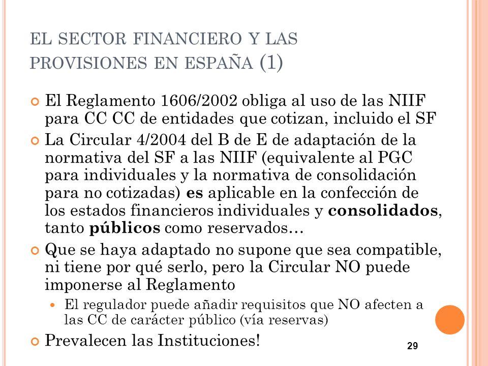 29 EL SECTOR FINANCIERO Y LAS PROVISIONES EN ESPAÑA (1) El Reglamento 1606/2002 obliga al uso de las NIIF para CC CC de entidades que cotizan, incluid