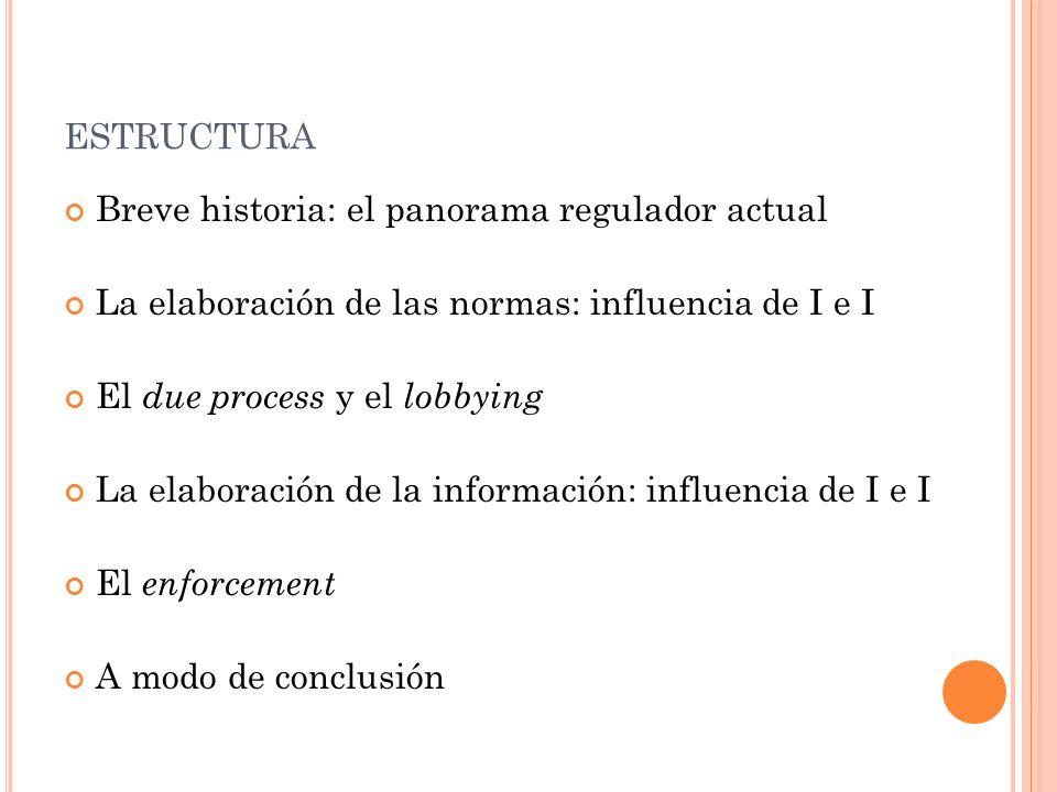 ESTRUCTURA Breve historia: el panorama regulador actual La elaboración de las normas: influencia de I e I El due process y el lobbying La elaboración