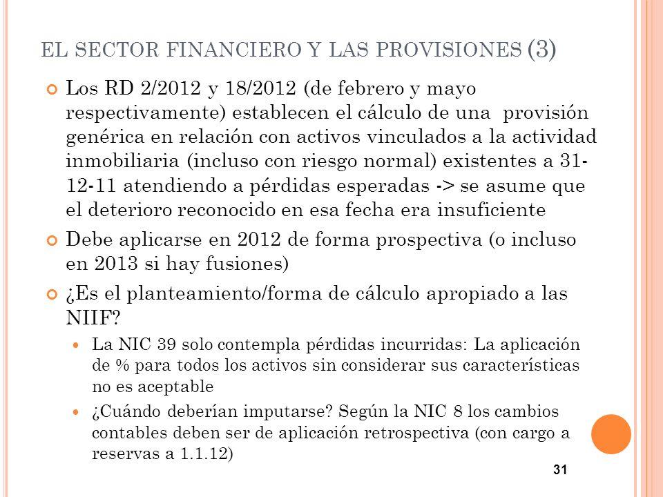 EL SECTOR FINANCIERO Y LAS PROVISIONES (3) Los RD 2/2012 y 18/2012 (de febrero y mayo respectivamente) establecen el cálculo de una provisión genérica