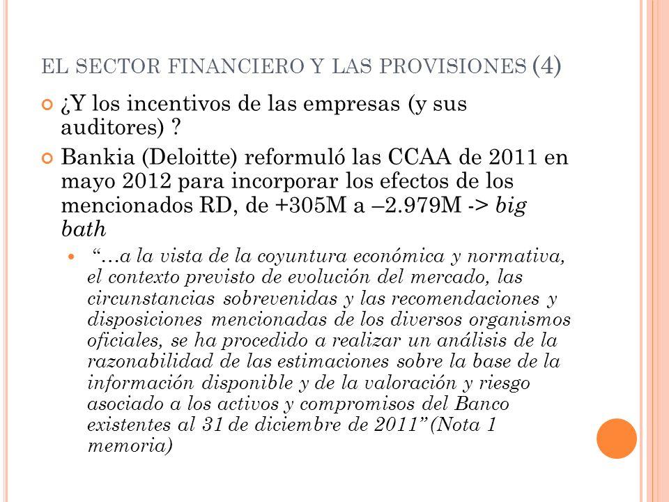 EL SECTOR FINANCIERO Y LAS PROVISIONES (4) ¿Y los incentivos de las empresas (y sus auditores) ? Bankia (Deloitte) reformuló las CCAA de 2011 en mayo