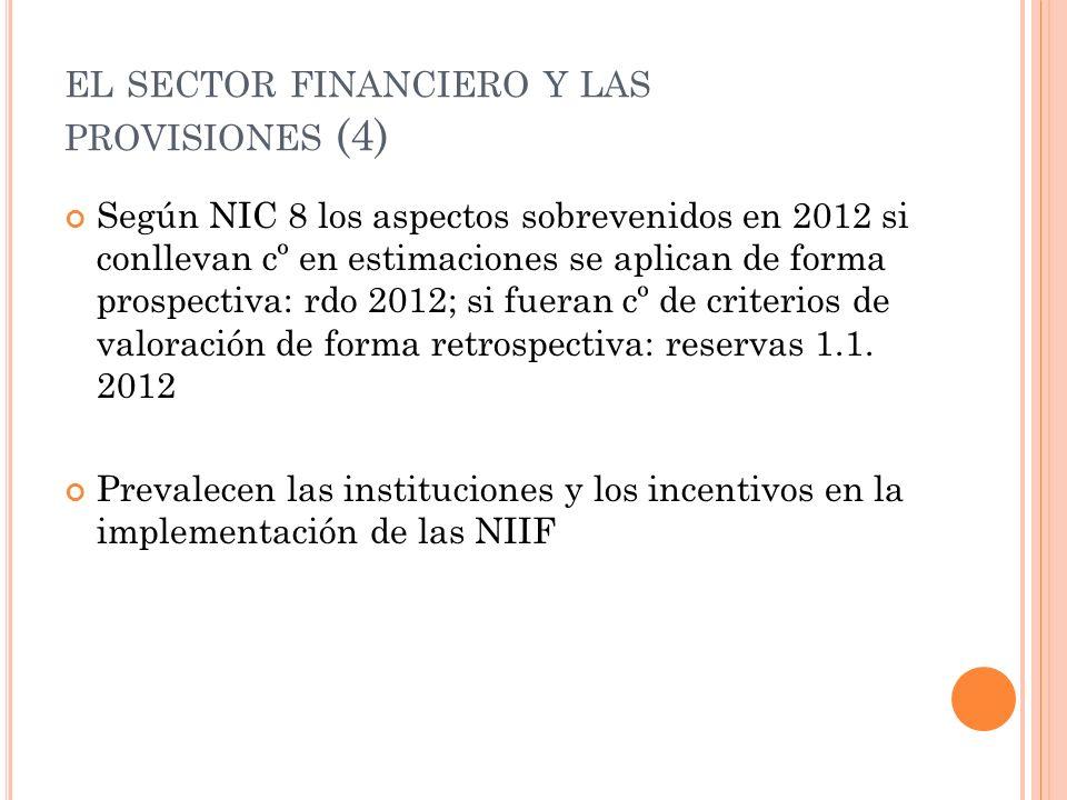 EL SECTOR FINANCIERO Y LAS PROVISIONES (4) Según NIC 8 los aspectos sobrevenidos en 2012 si conllevan cº en estimaciones se aplican de forma prospecti