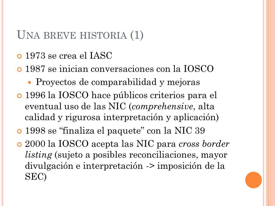 U NA BREVE HISTORIA (2) 2001 el IASC se transforma en el IASB 2002 la CE y otros países deciden adoptar las NIIF en 2005-> normas globales obligatorias Decisiones políticas Impacto en los países y en el IASB 2002 firma del acuerdo Norwalk IASB-FASB -> aproximación NIIF-USGAAP Caso Enron y crisis credibilidad USGAAP 2005 hoja de ruta de la SEC para eliminar reconciliaciones 2006 firma del MoU -> acuerdo de convergencia IASB-FASB, corroborado en 2008 y 2009 Críticas desde la UE y desde Australia por los cambios derivados de la convergencia
