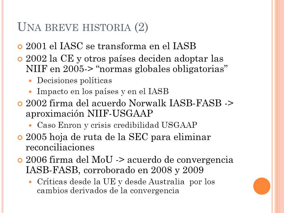 U NA BREVE HISTORIA (2) 2001 el IASC se transforma en el IASB 2002 la CE y otros países deciden adoptar las NIIF en 2005-> normas globales obligatoria