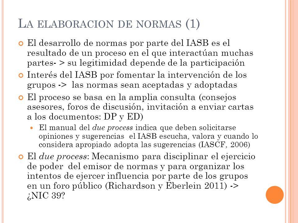 L A ELABORACION DE NORMAS (2) La participación de los interesados ( lobbying) depende de sus incentivos e intereses Los directivos, contables, auditores e inversores gastan muchos recursos para influir en las normas porque esperan obtener beneficios (Watts y Zimmerman 1978) El modelo de elección racional: se hace lobbying si los beneficios ajustados por la probabilidad de tener éxito exceden a los costes (Sutton 1984) La teoría institucional: el l obbying evidencia la importancia o la viabilidad de la organización a la que se hace el lobbying (Kenny y Larson 1995)