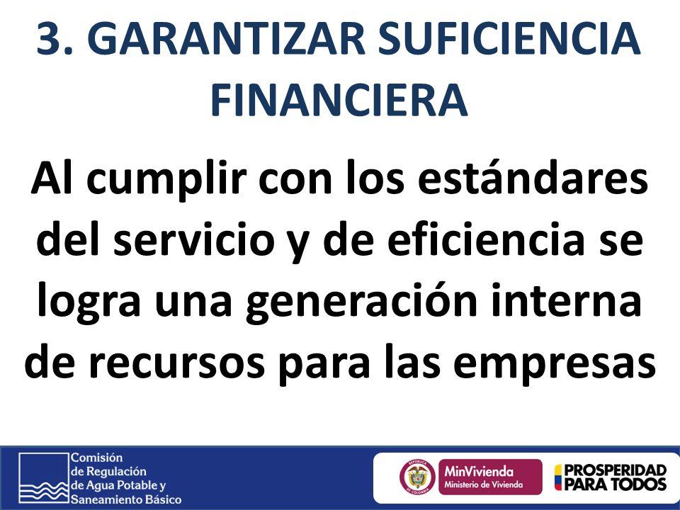 Al cumplir con los estándares del servicio y de eficiencia se logra una generación interna de recursos para las empresas 3.