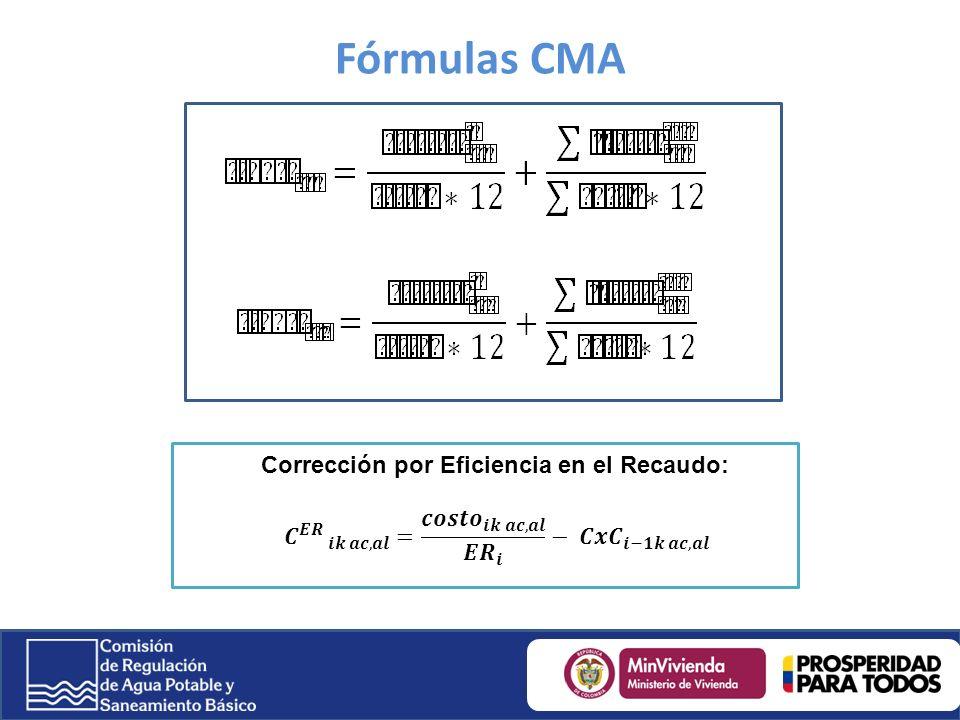 Fórmulas CMA Corrección por Eficiencia en el Recaudo:
