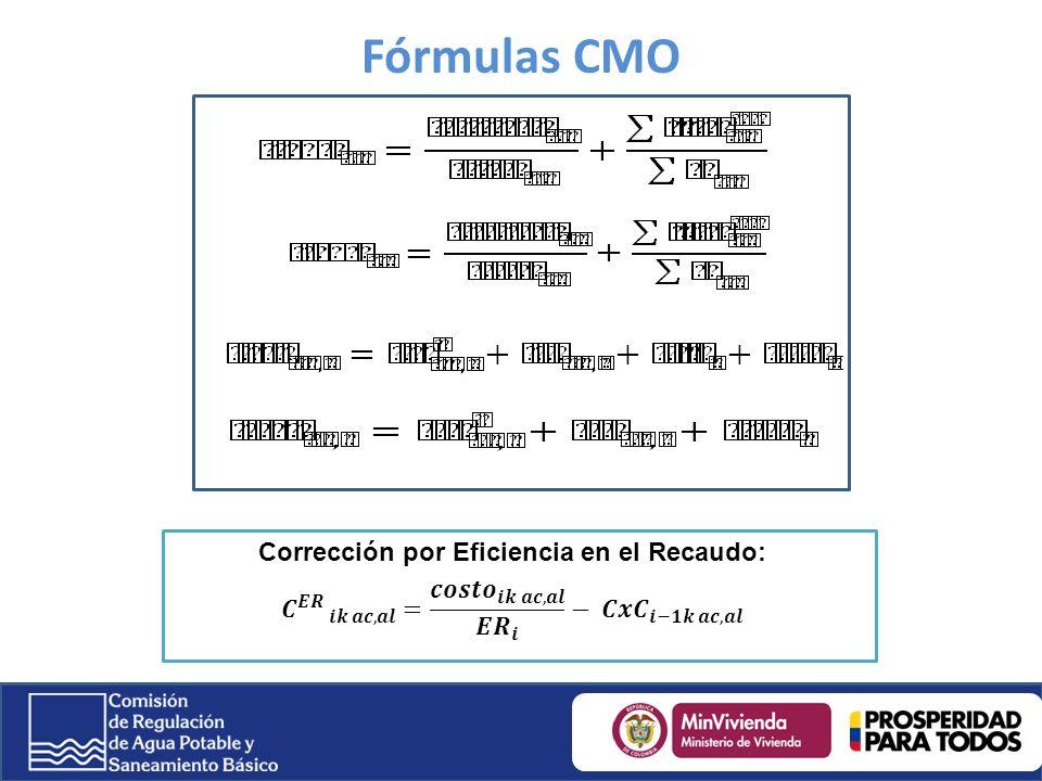 Fórmulas CMO Corrección por Eficiencia en el Recaudo: