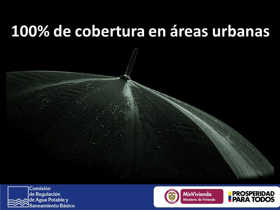 100% de cobertura en áreas urbanas