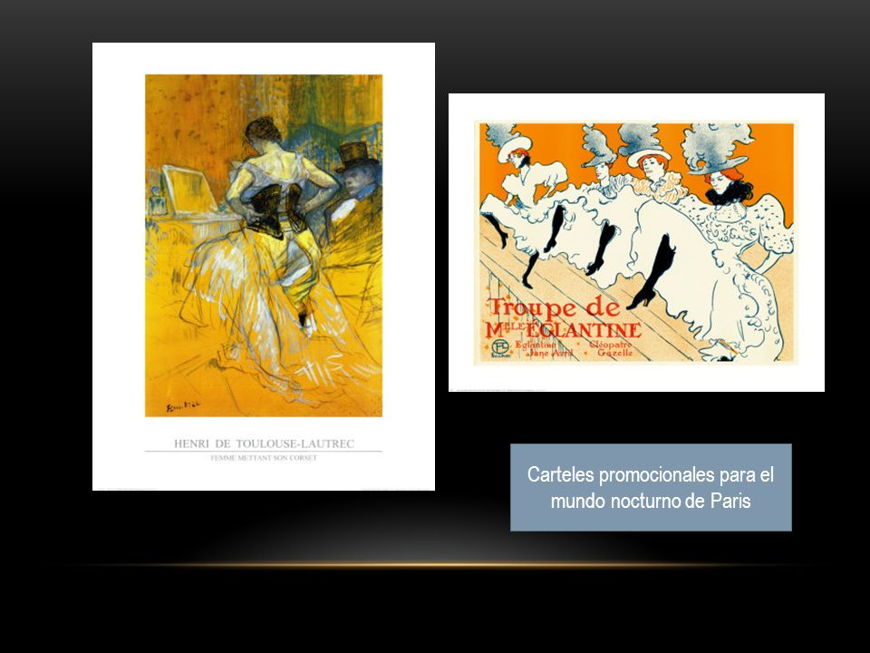 Carteles promocionales para el mundo nocturno de Paris
