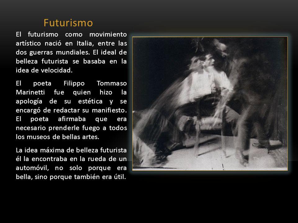 Futurismo El futurismo como movimiento artístico nació en Italia, entre las dos guerras mundiales. El ideal de belleza futurista se basaba en la idea