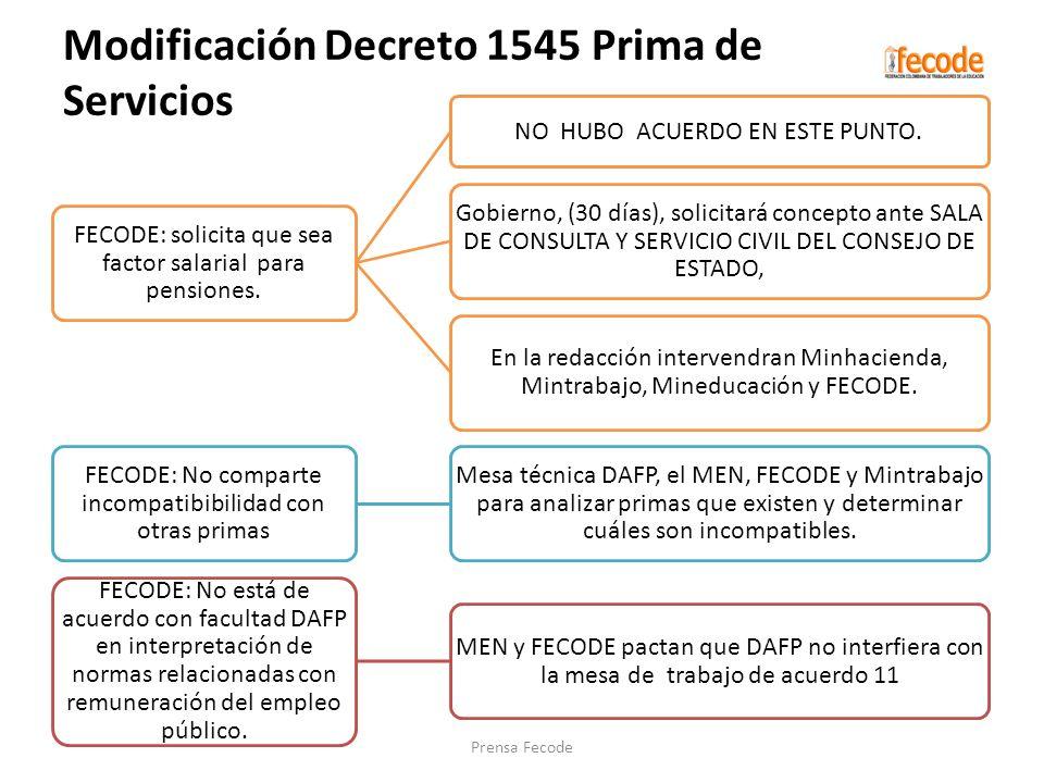 FECODE: solicita que sea factor salarial para pensiones. NO HUBO ACUERDO EN ESTE PUNTO. Gobierno, (30 días), solicitará concepto ante SALA DE CONSULTA