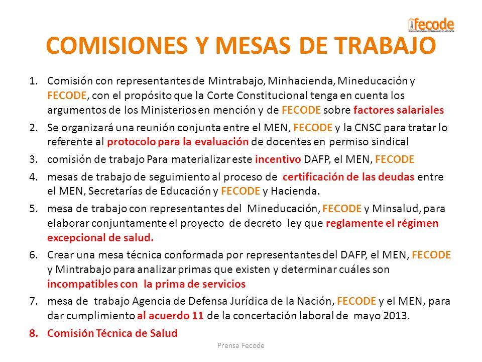 COMISIONES Y MESAS DE TRABAJO 1.Comisión con representantes de Mintrabajo, Minhacienda, Mineducación y FECODE, con el propósito que la Corte Constituc