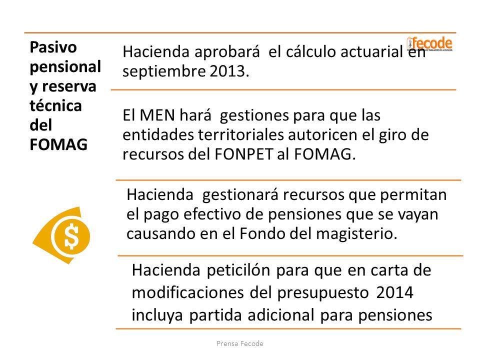 Pasivo pensional y reserva técnica del FOMAG Hacienda aprobará el cálculo actuarial en septiembre 2013. El MEN hará gestiones para que las entidades t