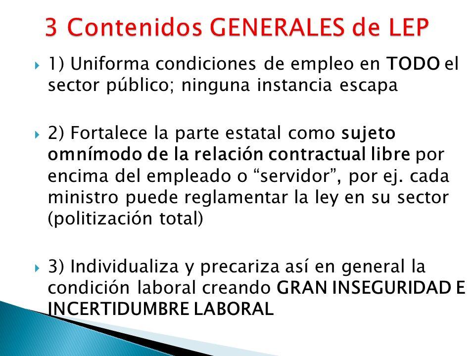 1) Uniforma condiciones de empleo en TODO el sector público; ninguna instancia escapa 2) Fortalece la parte estatal como sujeto omnímodo de la relación contractual libre por encima del empleado o servidor, por ej.