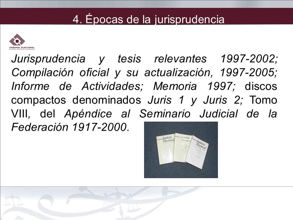 Jurisprudencia y tesis relevantes 1997-2002; Compilación oficial y su actualización, 1997-2005; Informe de Actividades; Memoria 1997; discos compactos