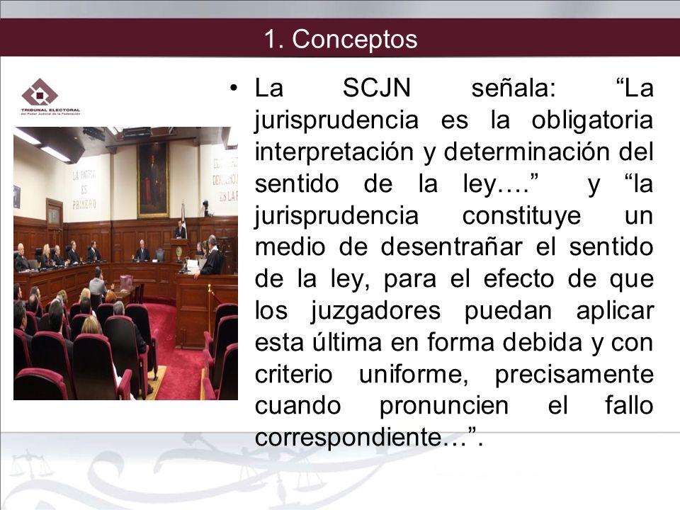 1. Conceptos La SCJN señala: La jurisprudencia es la obligatoria interpretación y determinación del sentido de la ley…. y la jurisprudencia constituye