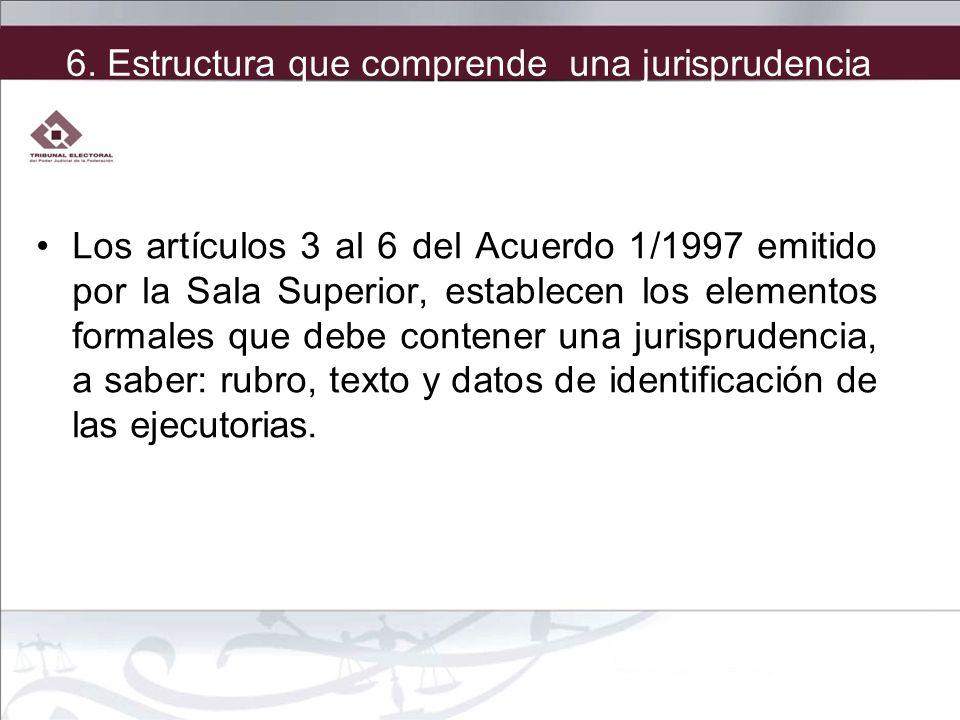 Los artículos 3 al 6 del Acuerdo 1/1997 emitido por la Sala Superior, establecen los elementos formales que debe contener una jurisprudencia, a saber: