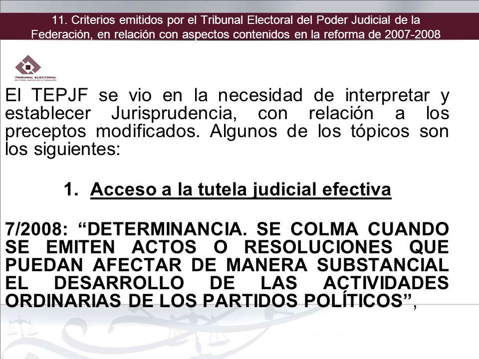 El TEPJF se vio en la necesidad de interpretar y establecer Jurisprudencia, con relación a los preceptos modificados. Algunos de los tópicos son los s