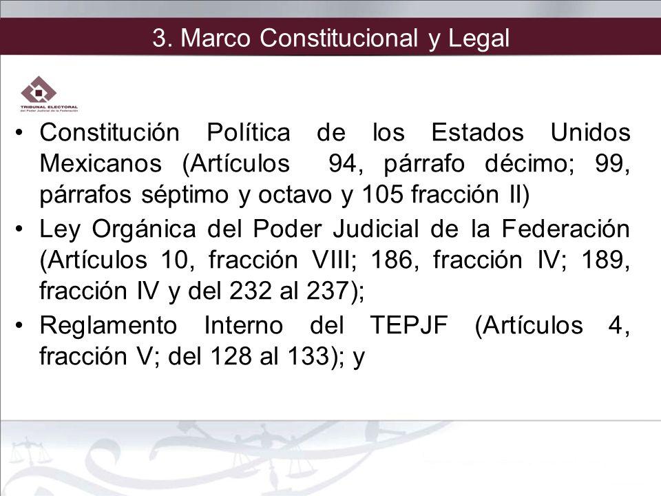 3. Marco Constitucional y Legal Constitución Política de los Estados Unidos Mexicanos (Artículos 94, párrafo décimo; 99, párrafos séptimo y octavo y 1