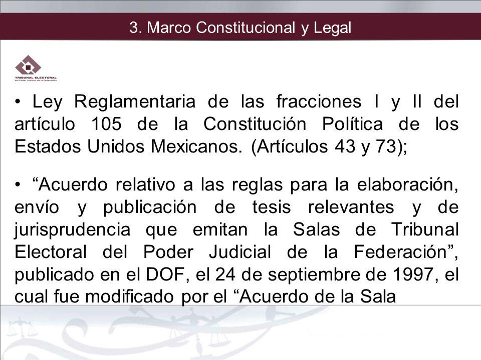 3. Marco Constitucional y Legal Ley Reglamentaria de las fracciones I y II del artículo 105 de la Constitución Política de los Estados Unidos Mexicano